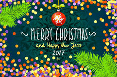Christmas card with confetti. Merry Christmas and Happy New Year 2017. Vector illustration. confetti, a hand-written inscription, christmas tree branch Royalty Free Stock Photos