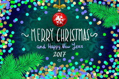 Christmas card with confetti. Merry Christmas and Happy New Year 2017, vector illustration. confetti, a hand-written inscription, christmas tree branch Royalty Free Stock Image