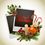 Christmas card with coniferous design Royalty Free Stock Images