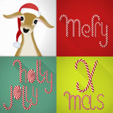 Christmas card in a contemporary colorful tile design, handmade Lolli font and jung deer Stock Image