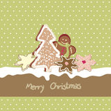 Christmas card with cookies. (gingerbread and Christmas tree Stock Photography