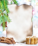 Christmas card with cookies and cinnamon Royalty Free Stock Image