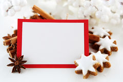 Christmas card. With cookies and decorations Stock Photo