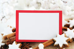 Christmas card. With cookies and decorations Stock Photos