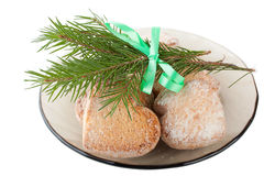 Christmas card with cookies, ribbon, pine branch Royalty Free Stock Image