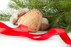 Christmas card with cookies, ribbon, pine branch Stock Images