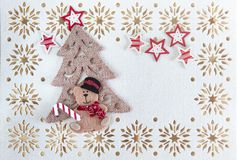 Christmas Card with Copy Space, Decoration made of Little Bear with Tree and Stars