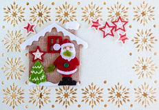 Christmas Card with Copy Space, Decoration Santa Claus, Tree, Stars and Little Haus royalty free illustration