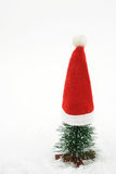 Christmas Card with copy space. Small tree with cute santa hat Royalty Free Stock Photography
