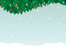 Christmas card with copy space for text. Vector christmas card of fir branch, cone and snowflakes on   abstract background. File includes high res jpg, eps Stock Photography