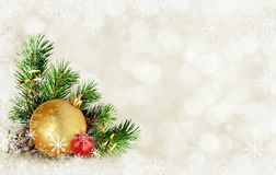 Christmas card with corner composition Royalty Free Stock Photos