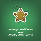 Christmas Card or Cover Template Design with Gingerbread Star, Merry Christmas and Happy New Year Label Royalty Free Stock Photography