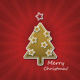 Christmas Card or Cover Template Design with Merry Christmas Label Royalty Free Stock Images