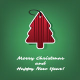 Christmas Card or Cover Template Design with Red Paper Cut Tree Shape Royalty Free Stock Photo