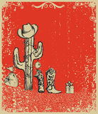 Christmas card with cowboy boots and cactus Royalty Free Stock Photography