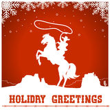 Christmas card with cowboy ride a horse silhouette. Christmas card with cowboy riding a horse silhouette.Vector western american illustration Stock Photos