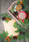 Christmas card with cup of cocoa, fir tree, pinecones and rowan Royalty Free Stock Photo