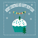 Christmas card with cupcake and tree Royalty Free Stock Images