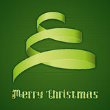 Christmas_Card_Curl_Green. Green background with curled paper in the shape of a christmas tree stock illustration
