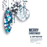 Christmas card with curled streamers and christmas royalty free stock images