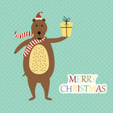 Christmas card. Cute and abstract christmas card with bear royalty free illustration