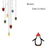 Christmas card. Cute and abstract christmas frame with happy penguin Stock Illustration