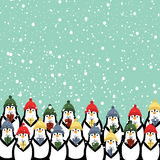 Christmas card. Cute and abstract christmas card with happy penguins vector illustration