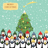 Christmas card. Cute and abstract christmas card with happy penguins Stock Photos