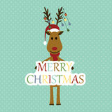 Christmas card. Cute and abstract christmas card with reindeer stock illustration