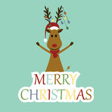 Christmas card. Cute and abstract christmas card with reindeer vector illustration