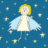 Christmas card with cute angel and shining stars. Original illustration of cute christmas angel with curly golden hairs Stock Photography