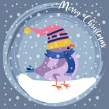 Christmas card with cute dressed bird stock illustration