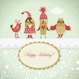 Christmas card with cute birds. Whimsical personages Stock Images
