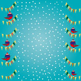 Christmas card with cute birds in a cap Royalty Free Stock Photos