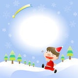 Christmas card with cute boy. There is Christmas card with cute boy Royalty Free Stock Image