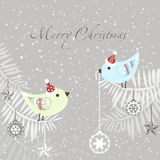 Christmas card with Cute Christmas Birds. Stock Photo