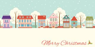 Christmas card with cute cottages in victorian style stock illustration