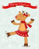 Christmas card with cute deer girl Stock Photography