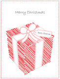 Christmas Card with Cute Doodled Gift Royalty Free Stock Photography