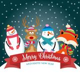 Christmas card with cute dressed animals, snowman and wishes stock illustration