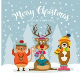 Christmas card with cute dressed animals and wishes royalty free illustration