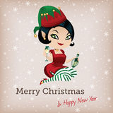 Christmas card with cute elf Royalty Free Stock Photo