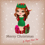 Christmas card with cute elf Royalty Free Stock Photography