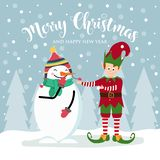 Christmas card with cute elf and snowman vector illustration