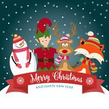 Christmas card with cute elf, snowman, reindeer and squirrel vector illustration