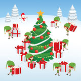 Christmas card with cute elves Stock Photography