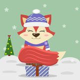 Christmas card with cute fox in a blue hat. Cartoon cute fox in a blue hat and scarf, Christmas and new year cards, isolated on a light background, snowflakes Stock Photos