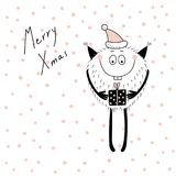 Christmas card with cute funny monster stock illustration