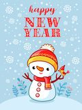 Christmas card with a cute and funny snowman. Vector illustration for Christmas theme with place for text Royalty Free Stock Photography