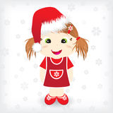 Christmas card with cute girl in christmas hat. And background with falling snowflakes Stock Image